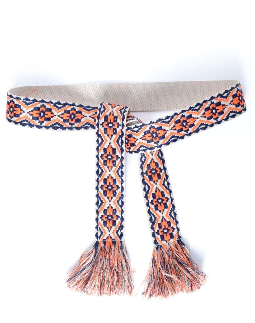 Wikkelriem Carpet oranje blauw print omslagriemen-boho-riemen-dames-wikkelriemen-ceinturen-handgemaakte-katoenen-riemen-gekleurde-print-