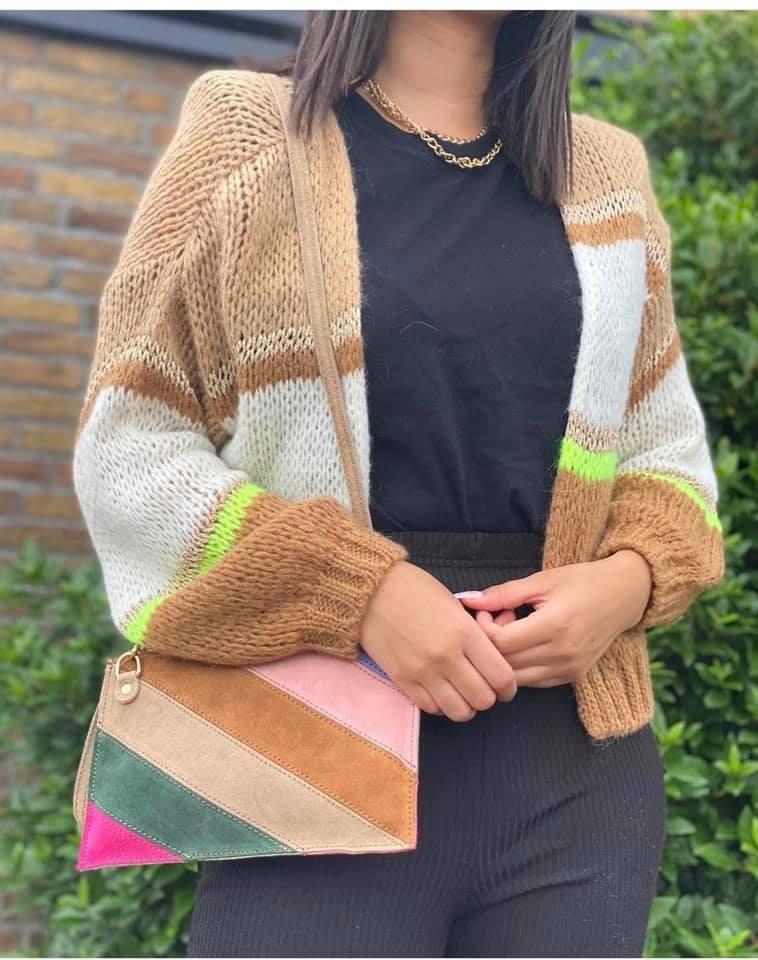 vest cute stripes suede clutch rainbow kopen bestellen trendy kleding set dames fashion