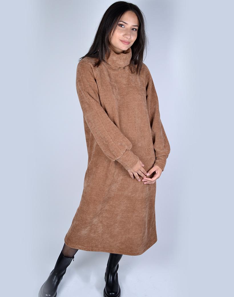 Corduroy Col Jurk camel cognac lange warme jurken dresses dames kleding kopen bestellen