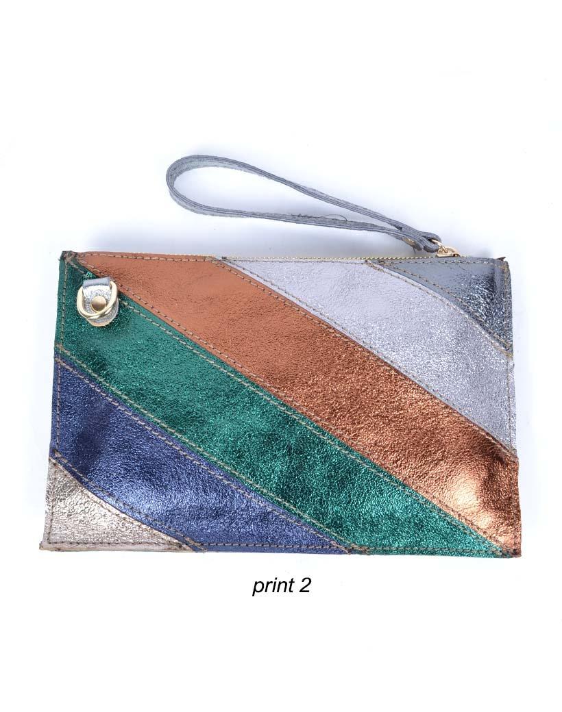 Leren-Clutch- metallic Rainbow-koper zilver paars -groen-look-a-like-it-bags-regenboogkleuren-giuliano-bestellen-kopen