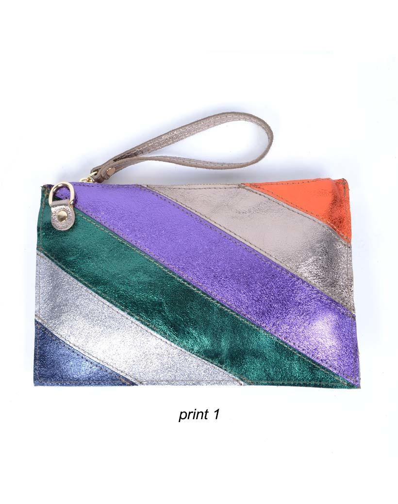 Leren-Clutch- metallic Rainbow-zilver paars -groen-look-a-like-it-bags-regenboogkleuren-giuliano-bestellen-kopen