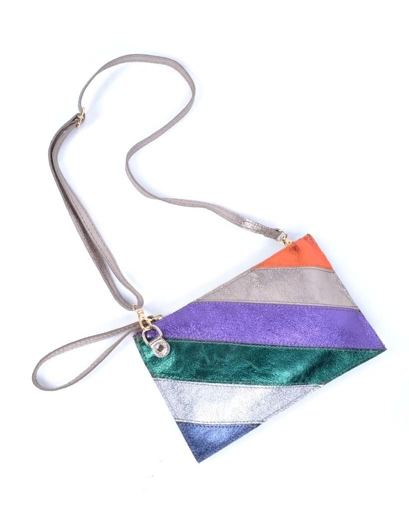Leren-Clutch- metallic Rainbow-zilver paarse -groen-look-a-like-it-bags-regenboogkleuren-giuliano-bestellen-kopen