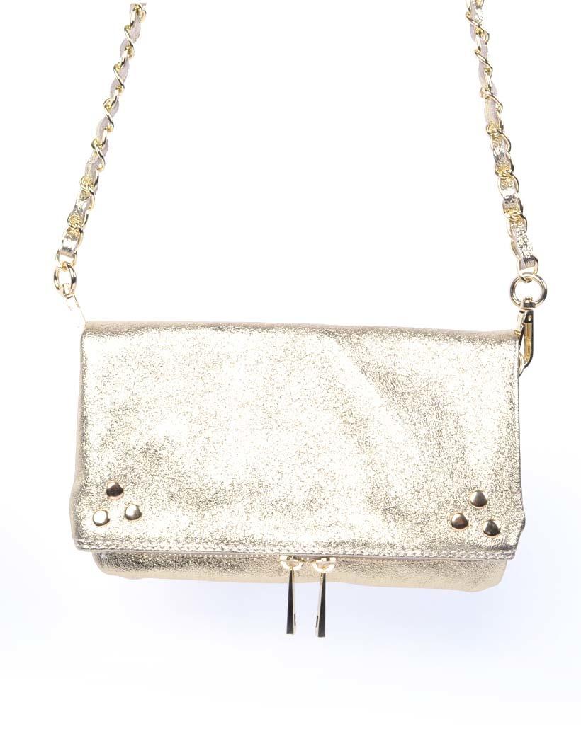 Leren-Schoudertas-Pretty-Metallic goud gouden-trendy-leren-fashiontas-crossbody-tassen-zilveren-kettinghengsel-look-a-like-kopen-