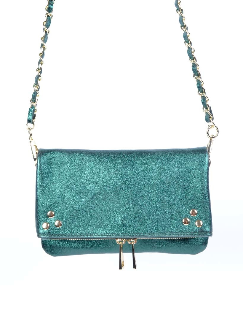 Leren-Schoudertas-Pretty-Metallic groen groene-trendy-leren-fashiontas-crossbody-tassen-zilveren-kettinghengsel-look-a-like-kopen-