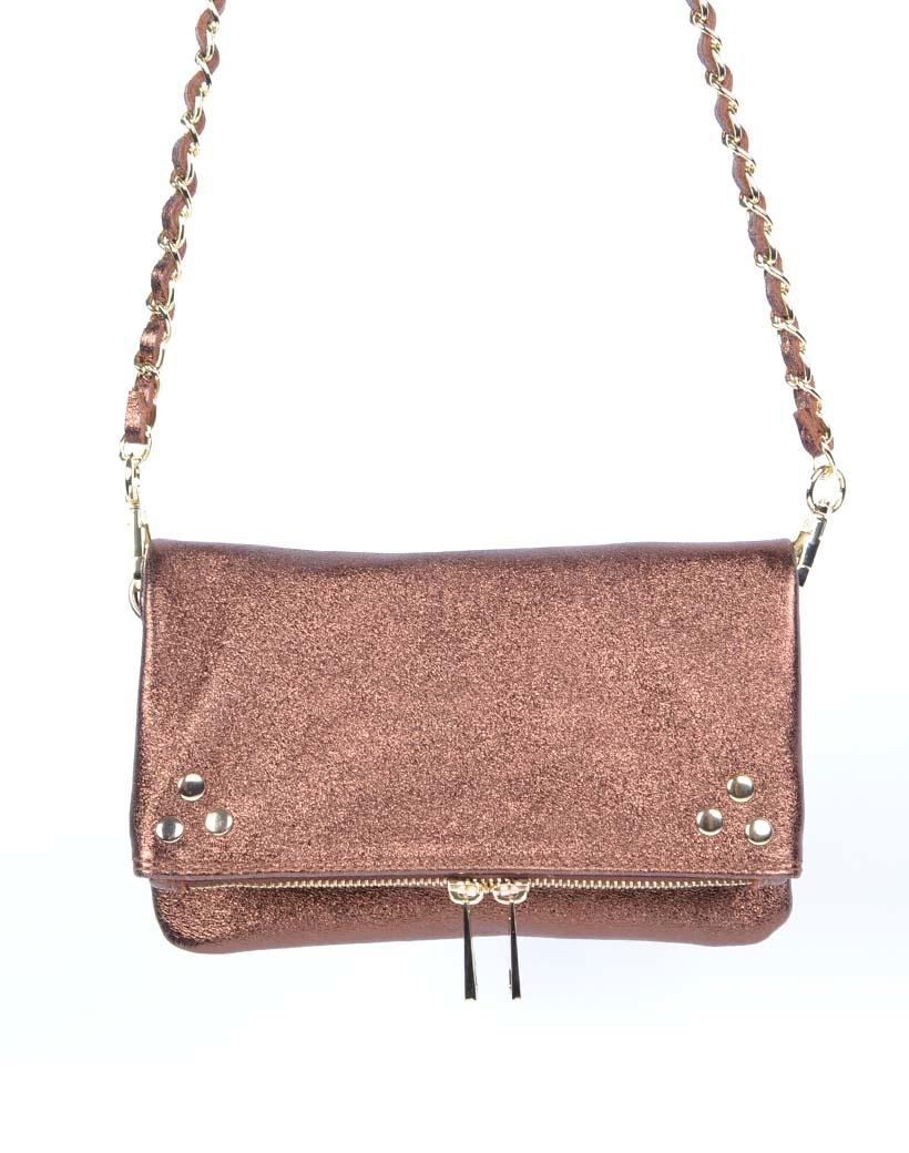 Leren-Schoudertas-Pretty-Metallic koper koperen-trendy-leren-fashiontas-crossbody-tassen-zilveren-kettinghengsel-look-a-like-kopen-