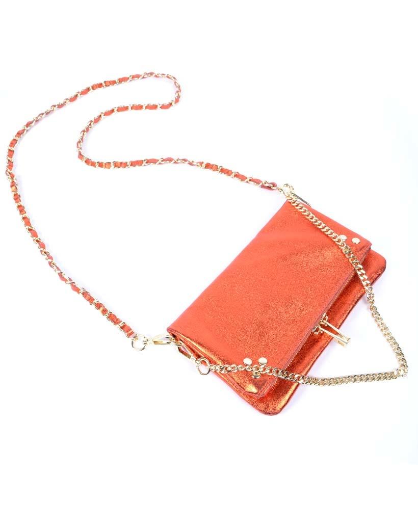 Leren-Schoudertas-Pretty-Metallic oranje orange-trendy-leren-fashiontas-crossbody-tassen-zilveren-kettinghengsel-look-a-like-kopen-
