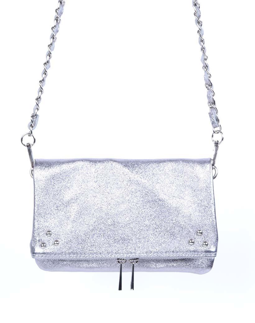 Leren-Schoudertas-Pretty-Metallic zilver zilveren-trendy-leren-fashiontas-crossbody-tassen-zilveren-kettinghengsel-look-a-like-kopen-
