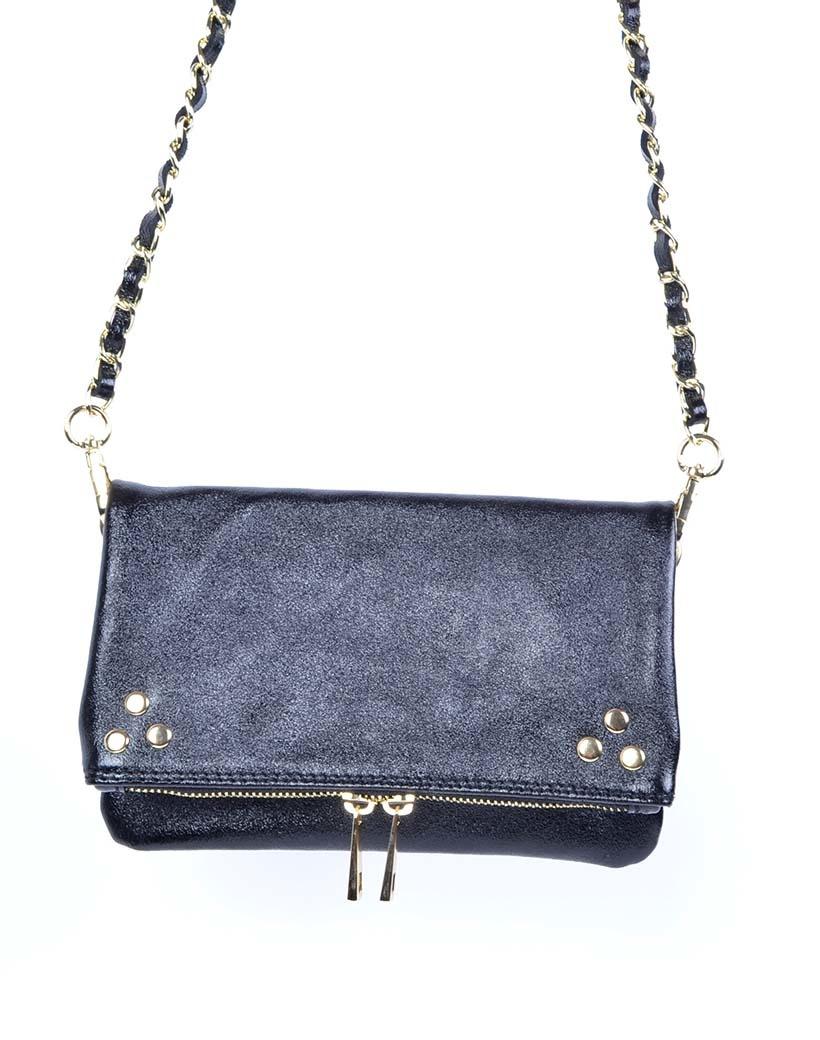 Leren-Schoudertas-Pretty-Metallic zwart zwarte-trendy-leren-fashiontas-crossbody-tassen-zilveren-kettinghengsel-look-a-like-kopen-