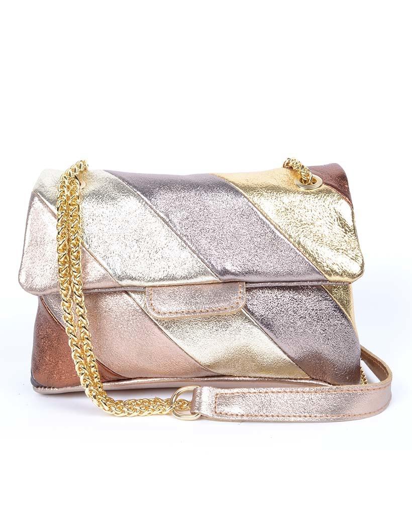 Leren-Schoudertas-Rainbow-Metallic-Gold brons bronzen gouden goud zilver brons -look-a-like-it-bags-regenboogkleuren-giuliano-bestellen-kopen-nu