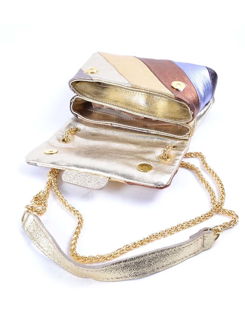 Leren-Schoudertas-Rainbow-Metallic-Gold bruin goud zilver brons -look-a-like-it-bags-regenboogkleuren-giuliano-bestellen-kopen