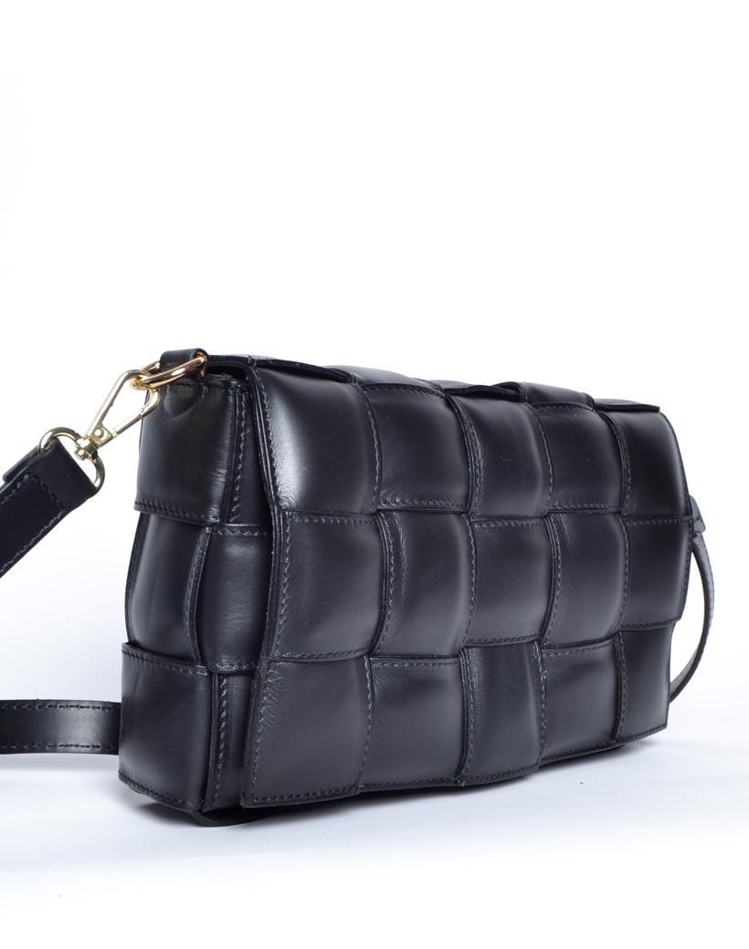 Leren Schoudertas Trendy Braided zwart zwarte gevlochten schoudertassen fashion bags kopen giuliano side