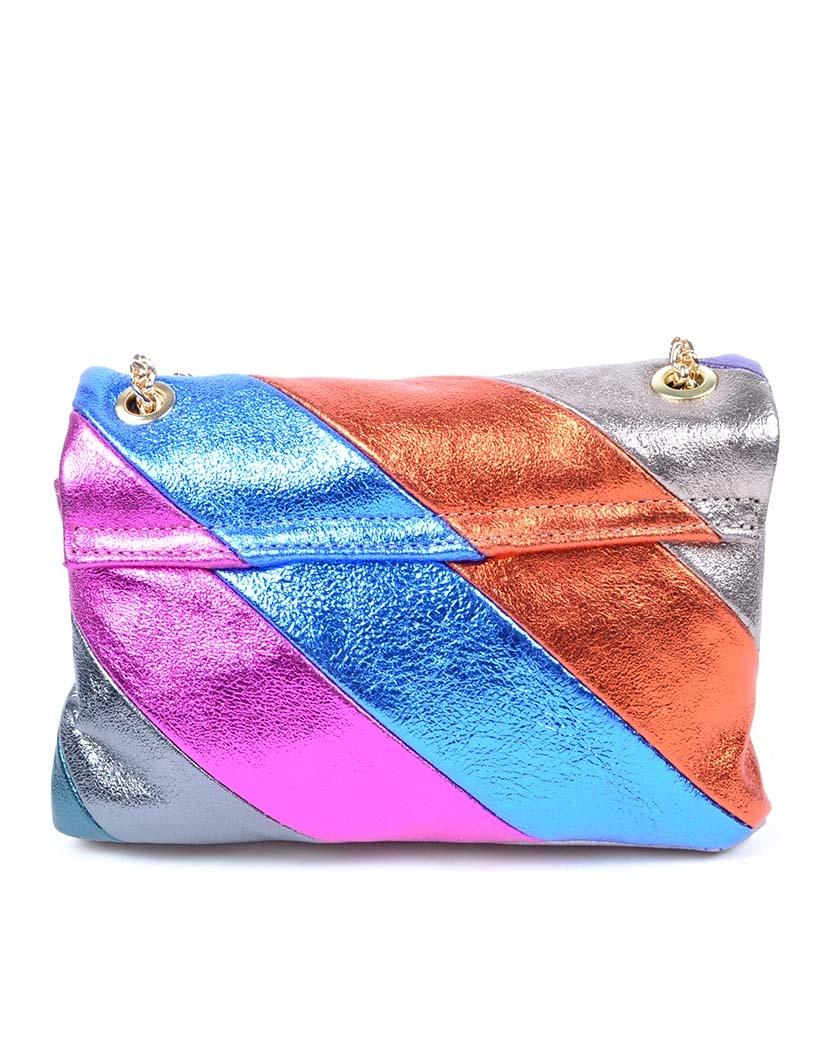 Leren-Schoudertas- metallic Rainbow Dark -zilver paarse -groen-look-a-like-it-bags-regenboogkleuren-giuliano-bestellen-kopen back