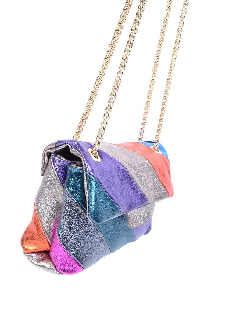 Leren-Schoudertas- metallic Rainbow Dark -zilver paarse -groen-look-a-like-it-bags-regenboogkleuren-giuliano-bestellen-kopen detail
