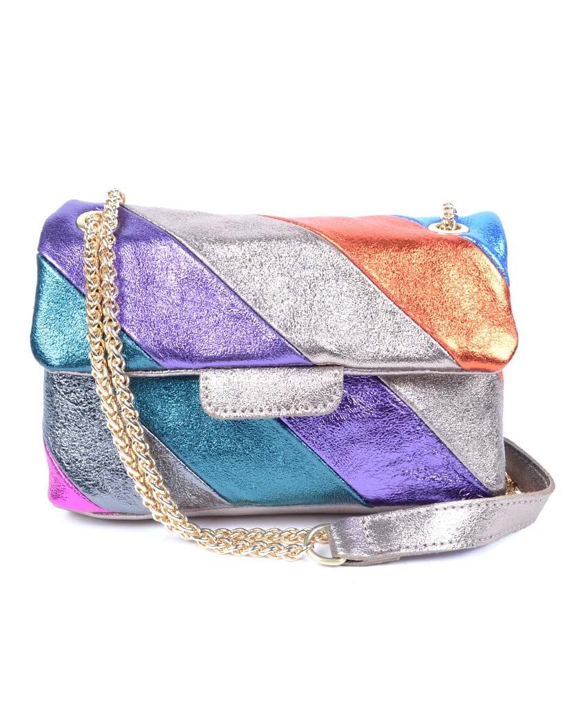 Leren-Schoudertas- metallic Rainbow Dark -zilver paarse -groen-look-a-like-it-bags-regenboogkleuren-giuliano-bestellen-kopen