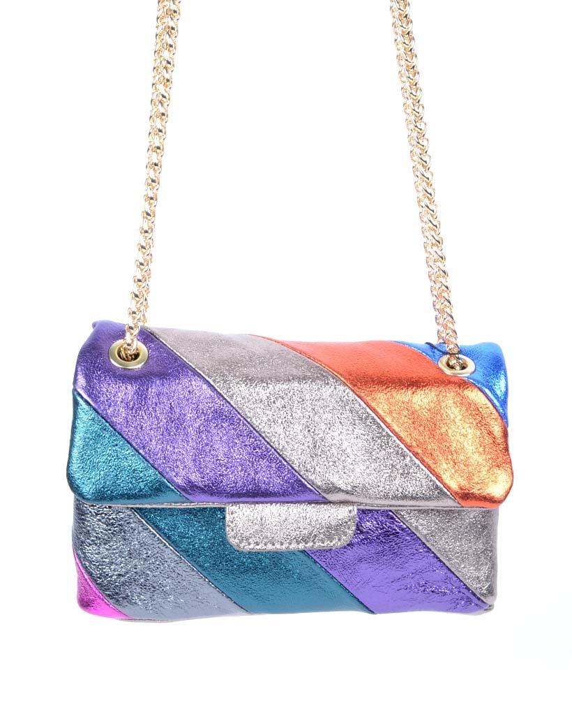 Leren-Schoudertas- metallic Rainbow Dark -zilver paarse -groen-oranje look-a-like-it-bags-regenboogkleuren-giuliano-bestellen-kopen