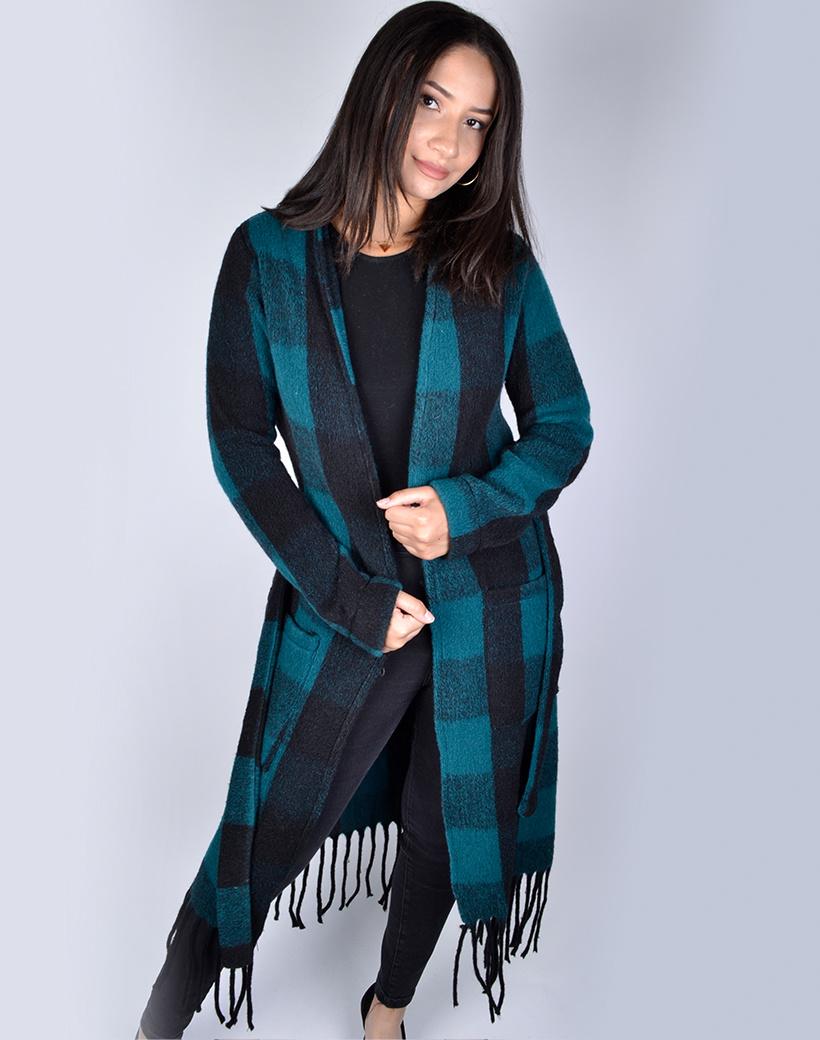 Jas-Fancy Fringe Petrol blauw -blauwe geblokte-half-lange-vest-franjes zakken-trends-dames jassen mantels kopen bestellen