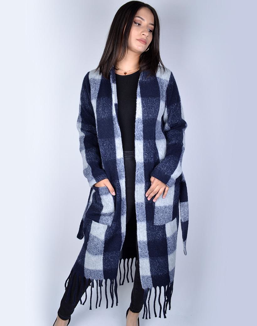 Jas-Fancy Fringe blauw -blauwe geblokte-half-lange-vest-franjes zakken-trends-dames jassen mantels kopen bestellen