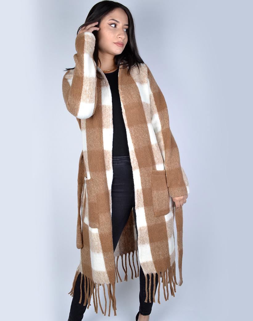Jas-Fancy Fringe camel wit wite geblokte-half-lange-vest-franjes zakken-trends-dames jassen mantels kopen bestellen