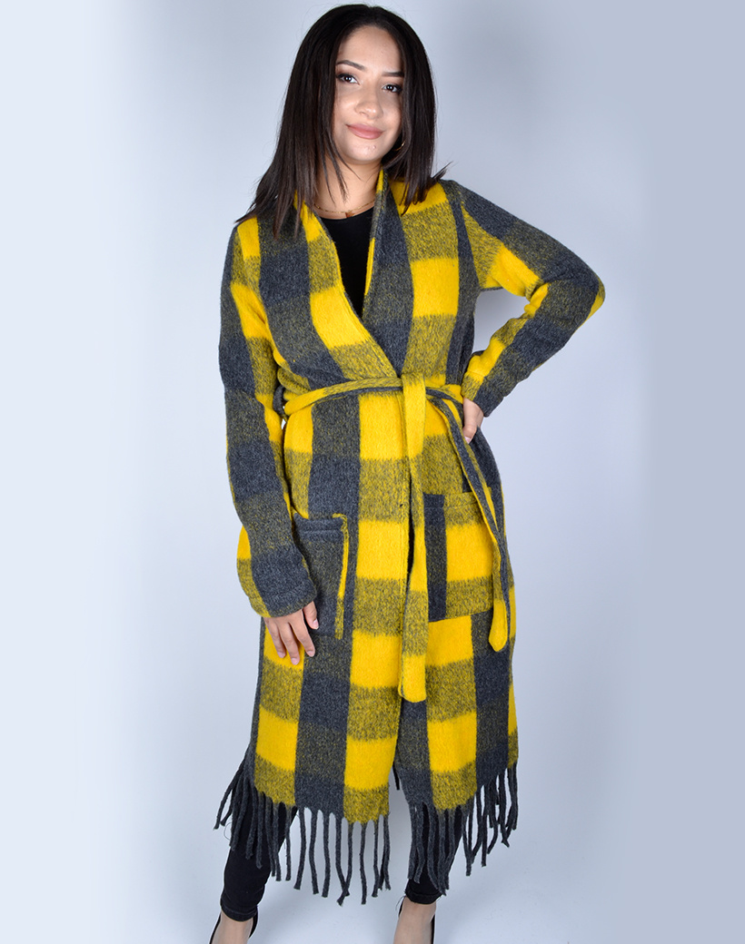 Jas-Fancy Fringe geel gele grijs grijze geblokte-half-lange-vest-franjes zakken-trends-dames jassen mantels kopen bestellen