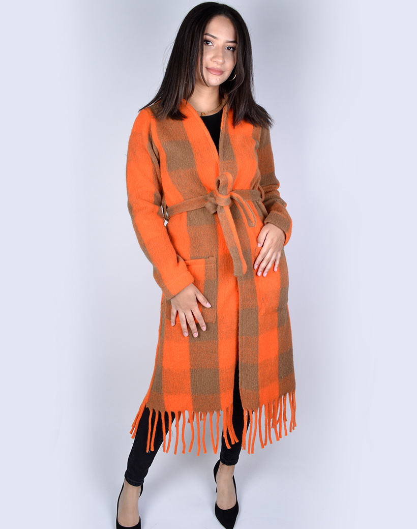 Jas-Fancy Fringe oranje taupe geblokte-half-lange-vest-franjes zakken-trends-dames jassen mantels kopen bestellen achter