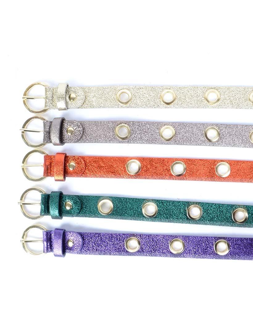 Riem-Fancy-Holes-Metallic groen zilver lila oranje goud dames-riemen-gouden-metalen-gaatjes-fashion-trendy-riemen-kopen-bestellen
