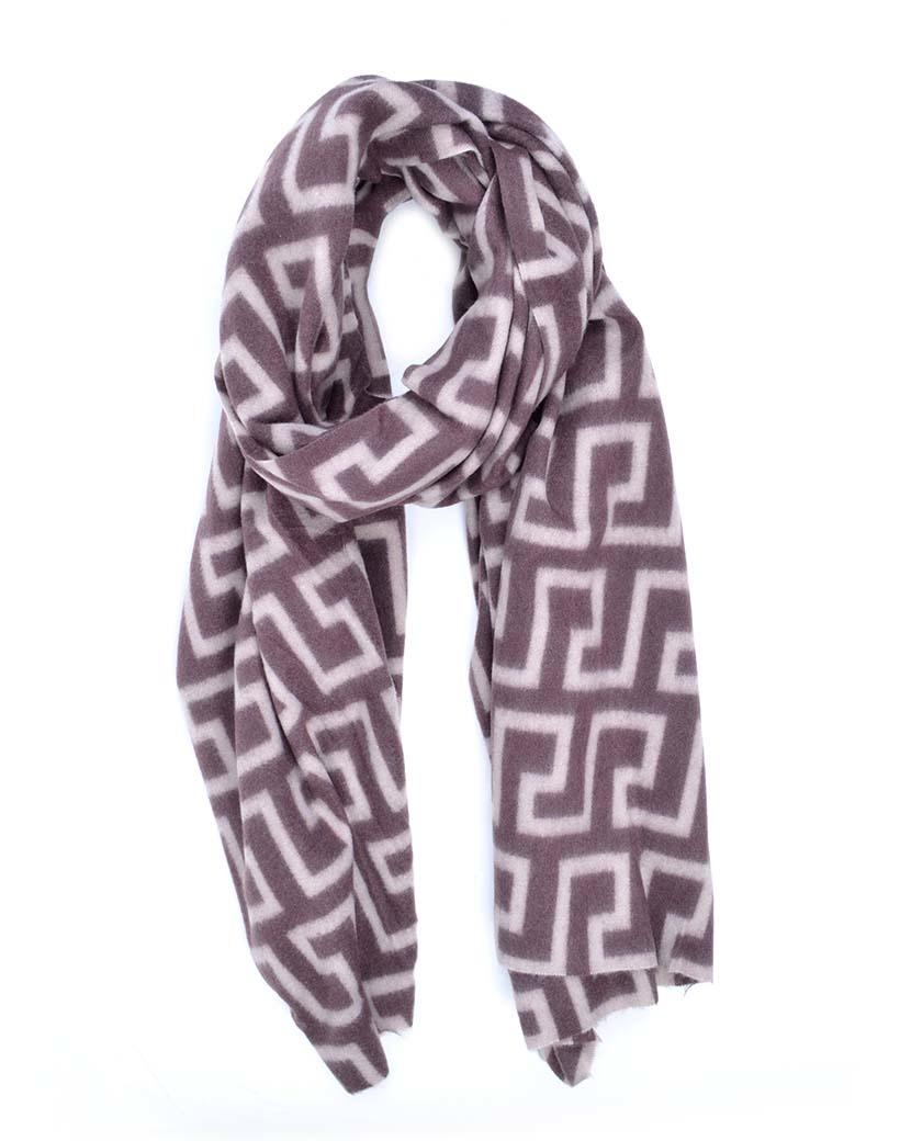 Sjaal Fancy Print bruin beige trendy warme sjaals omslagdoeken winteraccessoires kopen bestellen