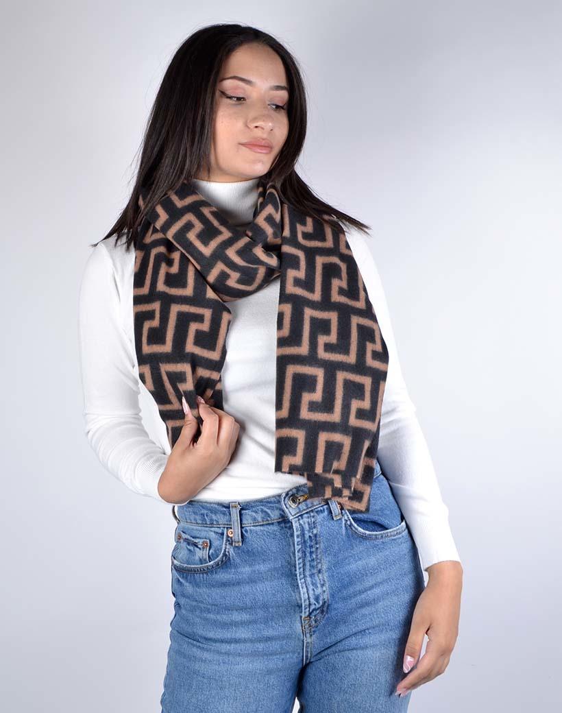 Sjaal Fancy Print zwart zwarte camel trendy warme sjaals omslagdoeken winteraccessoires kopen bestellen