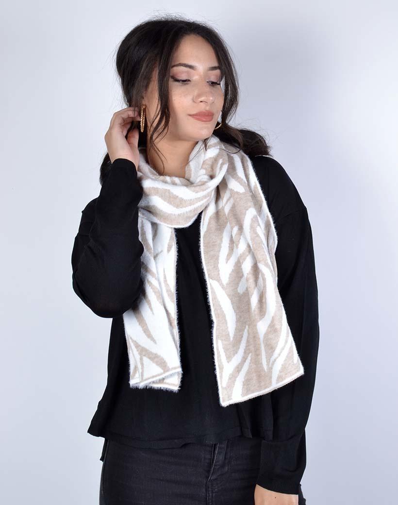Sjaal Fancy Zebra taupe print trendy warme sjaals omslagdoeken winter accessoires kopen bestellen
