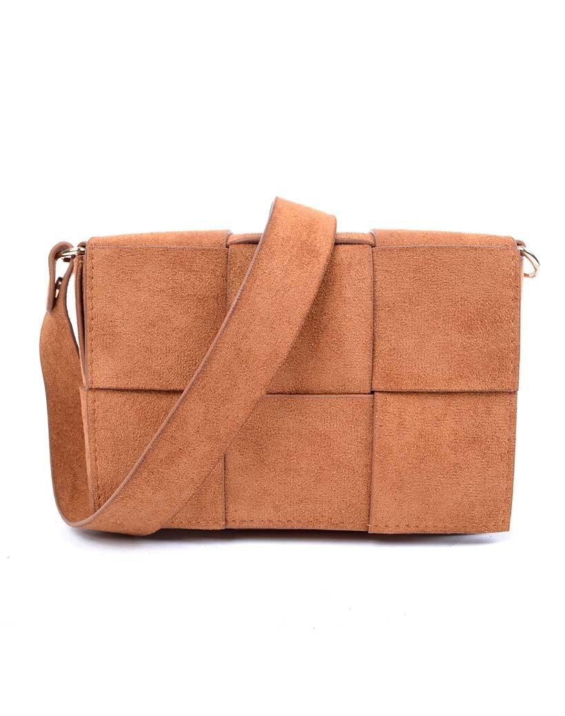 Suedine Tas-Braided Mini bruin bruine schoudertassen beltbag heuptassen met riem trendy tassen kopen bestellen