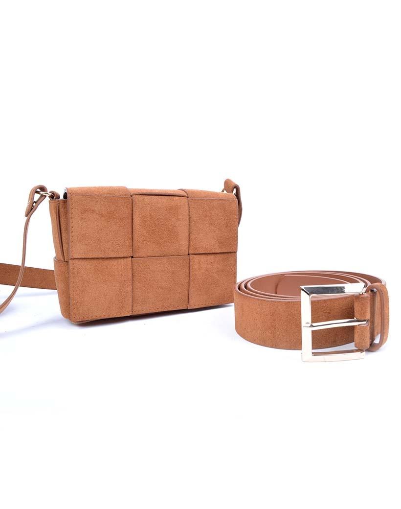 Suedine Tas-Braided Mini camel schoudertassen beltbag heuptassen met riem trendy tassen kopen bestellen
