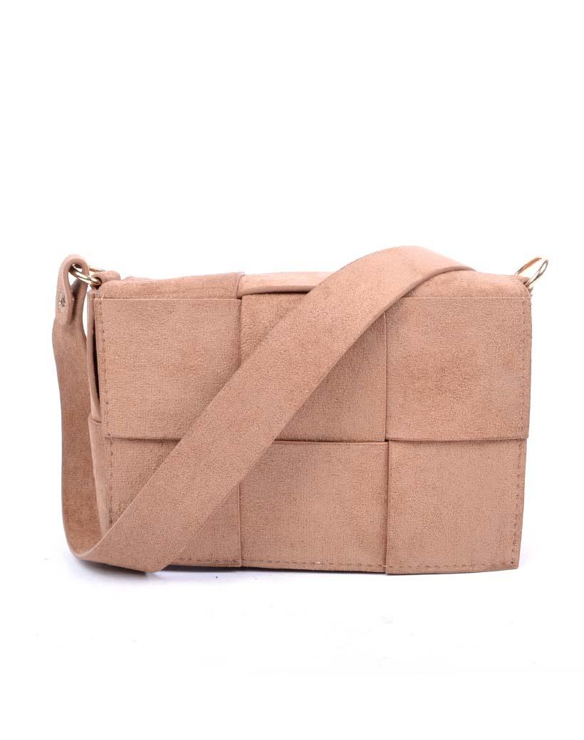 Suedine Tas-Braided Mini taupe schoudertassen beltbag heuptassen met riem trendy tassen kopen bestellen