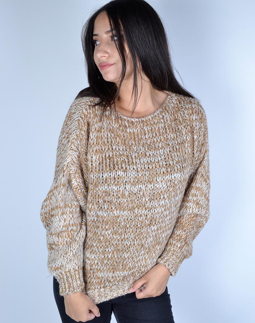 Trui Billy camel wit trendy multi garen dames truien sweaters kopen bestellen winter kleding warme leuke trui