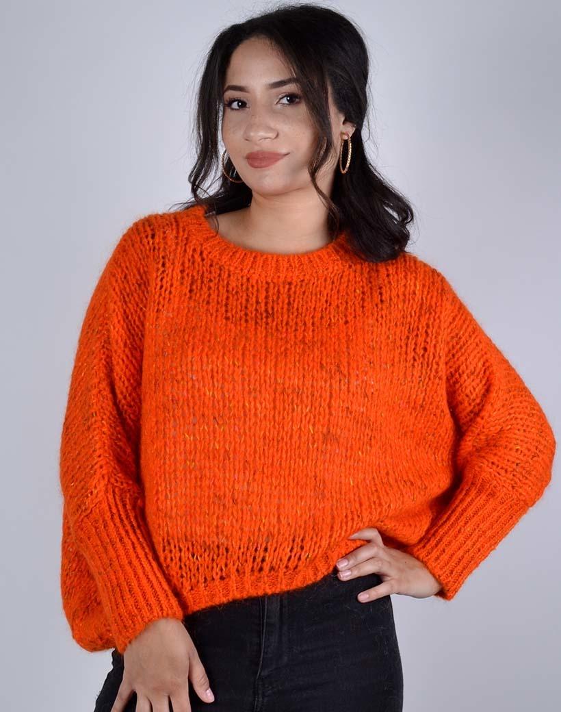 Trui Simple oranje trendy multicolor garen warme dames truien kopen bestellen