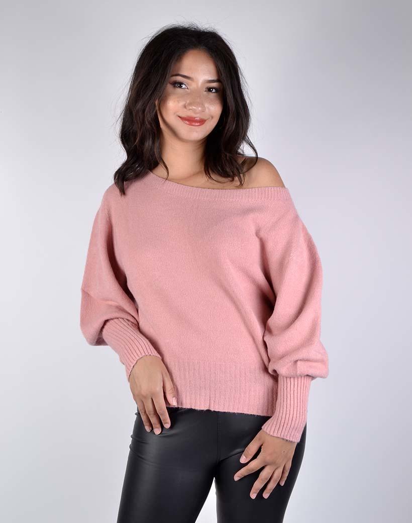 Trui Zara roze pink off the shoulder wijde hals boothals truien dames truien kopen bestellen