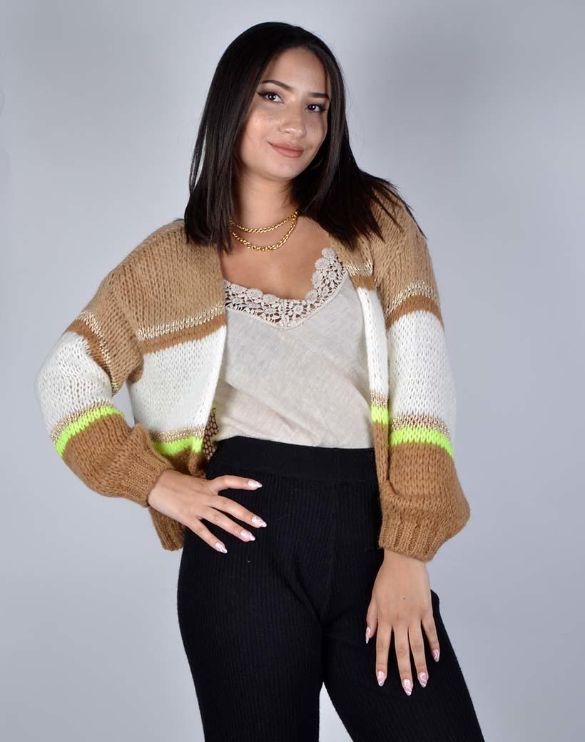 Vest Cute Stripes camel bruin wit witte open gestreepte dames vesten cardigans kopen bestellen giuliano
