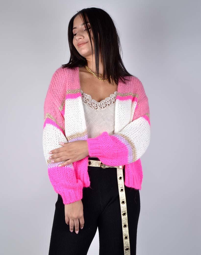 Vest Cute Stripes roze wit witte open gestreepte dames vesten cardigans kopen bestellen giuliano