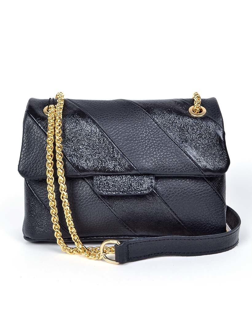 Leren-Schoudertas- Rainbow Metallic-Black zwart zwarte -look-a-like-it-bags--giuliano-bestellen-kopen