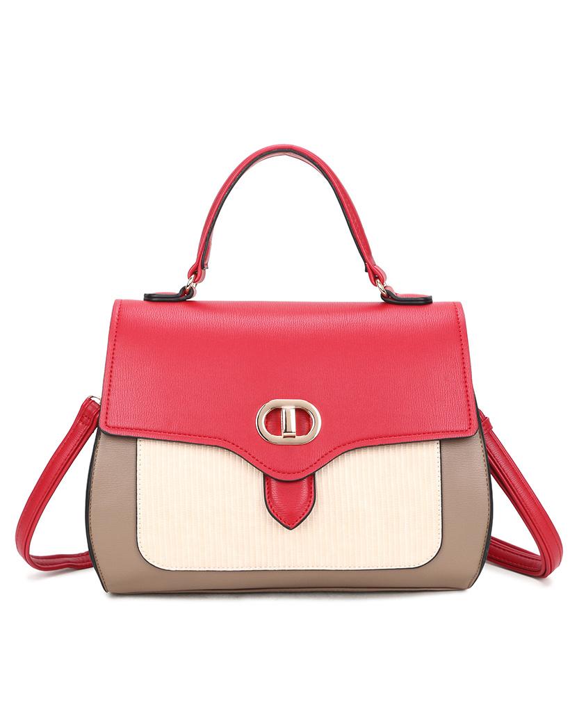 Handtas Ladylike geel mint bruin multi gekeurde trendy fashion tassen giuliano it bags kopen bestellen open