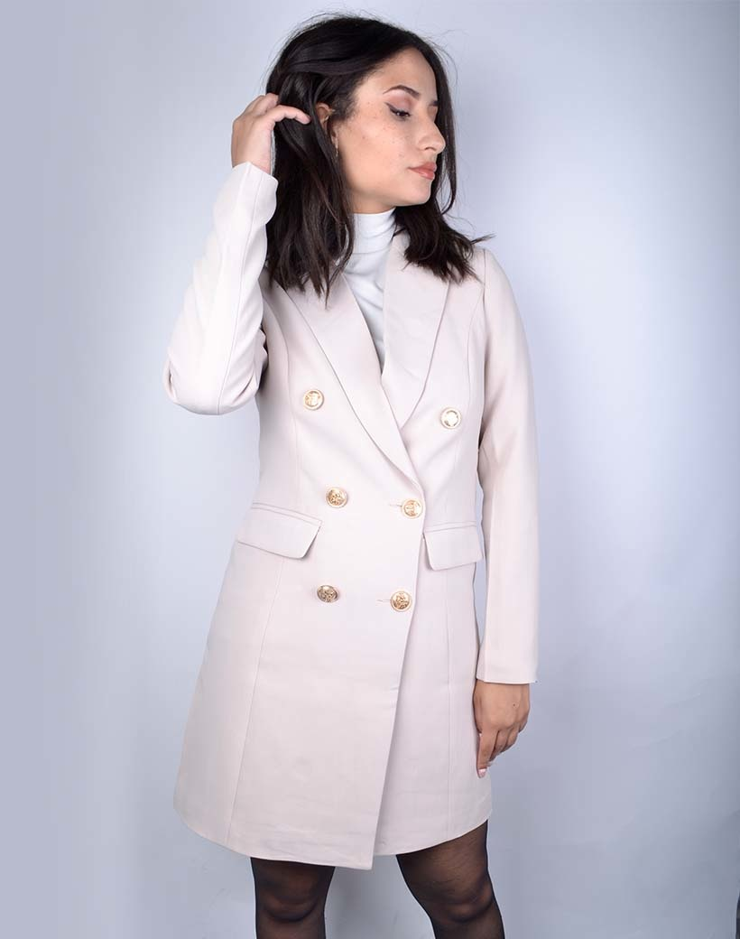 Jas Perfect Colbert beige lange dames jassen blazer gouden knopen trendy fashion jassen kopen bestellen giuliano musthaves