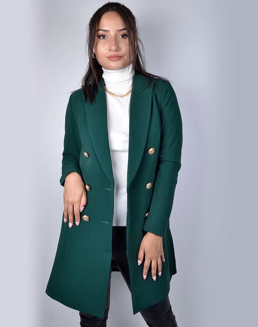 Jas Perfect Colbert groen groene lange gevoerde dames jassen blazer gouden knopen trendy fashion jassen kopen bestellen giuliano musthaves