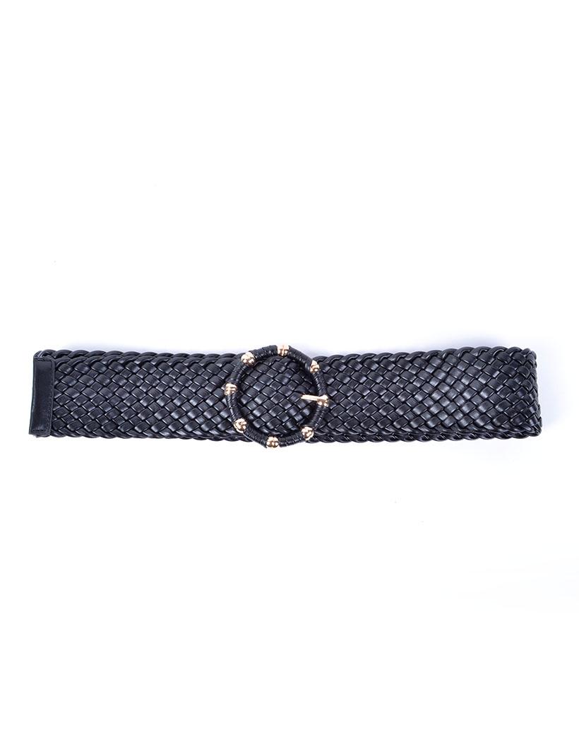 Gevlochten Riem Trendy zwart zwarte brede dames riemen met ronde gesp gouden studs riem kopen bestellen
