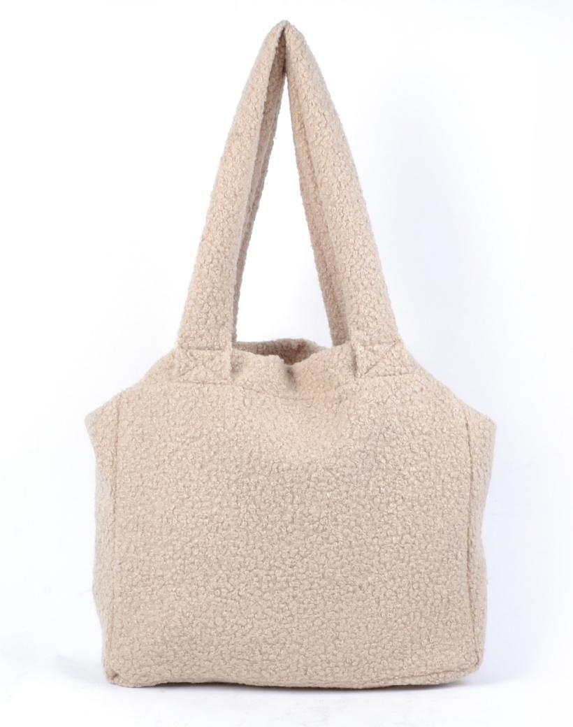 Shopper Teddy Love beige handtassen shoppers teddy stof wol look a like trendy dames tassen kopen bestellen giuliano open
