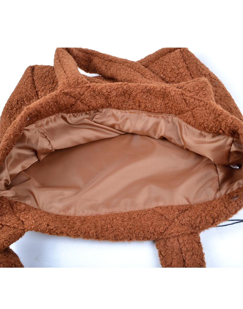 Shopper Teddy Love bruin bruine handtassen shoppers teddy stof wol look a like trendy dames tassen kopen bestellen giuliano inside