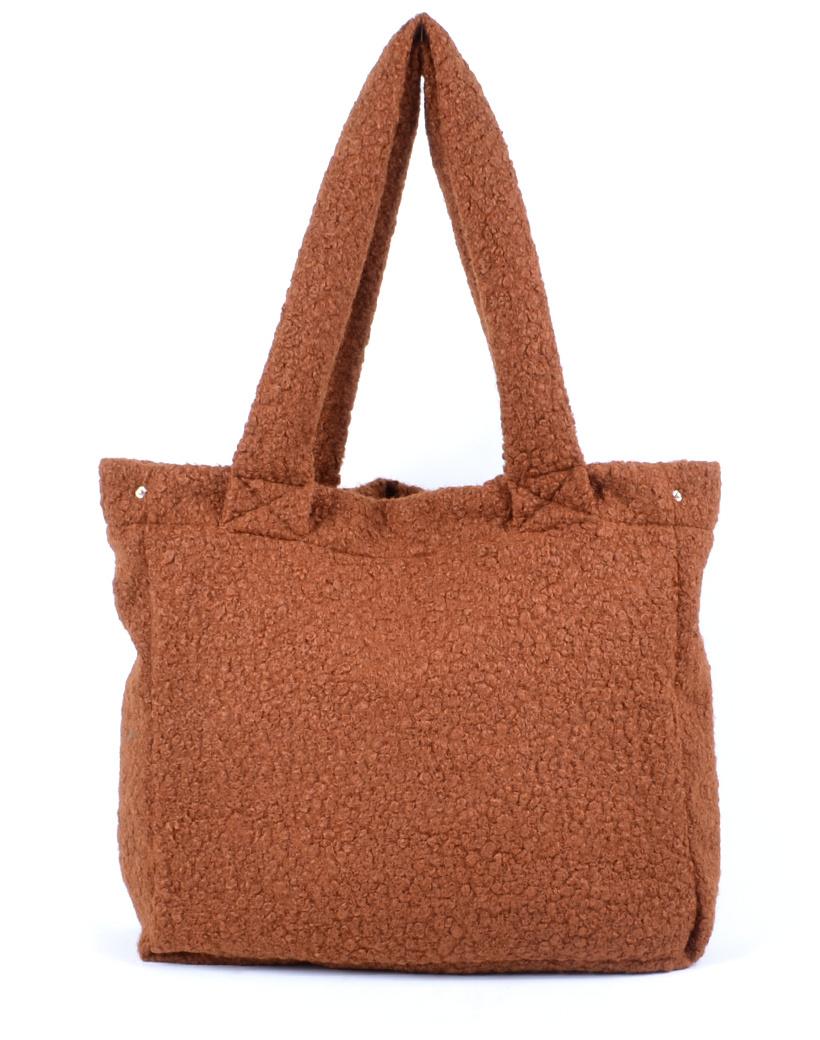 Shopper Teddy Love bruin bruine handtassen shoppers teddy stof wol look a like trendy dames tassen kopen bestellen giuliano open