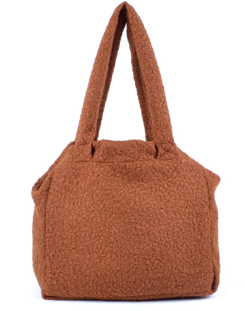 Shopper Teddy Love bruin bruine handtassen shoppers teddy stof wol look a like trendy dames tassen kopen bestellen giuliano
