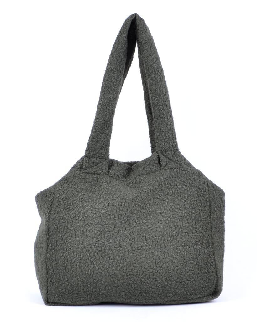 Shopper Teddy Love groen groene handtassen shoppers teddy stof wol look a like trendy dames tassen kopen bestellen giuliano open