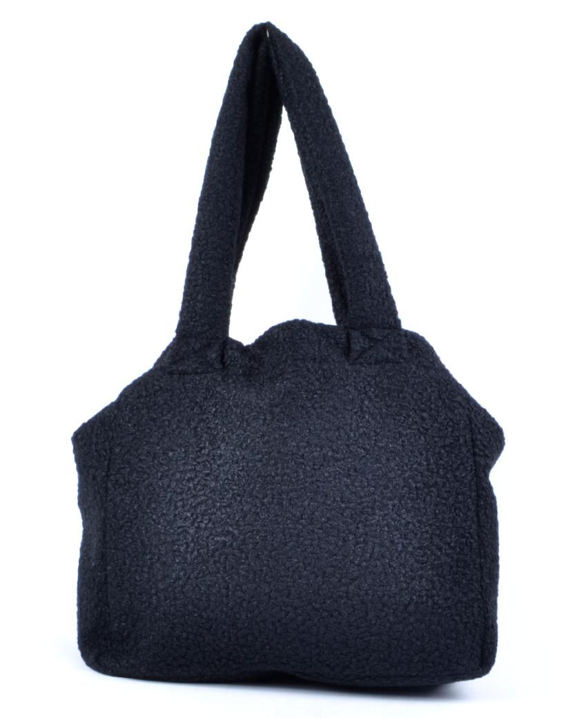 Shopper Teddy Love zwart zwarte handtassen shoppers teddy stof wol look a like trendy dames tassen kopen bestellen giuliano
