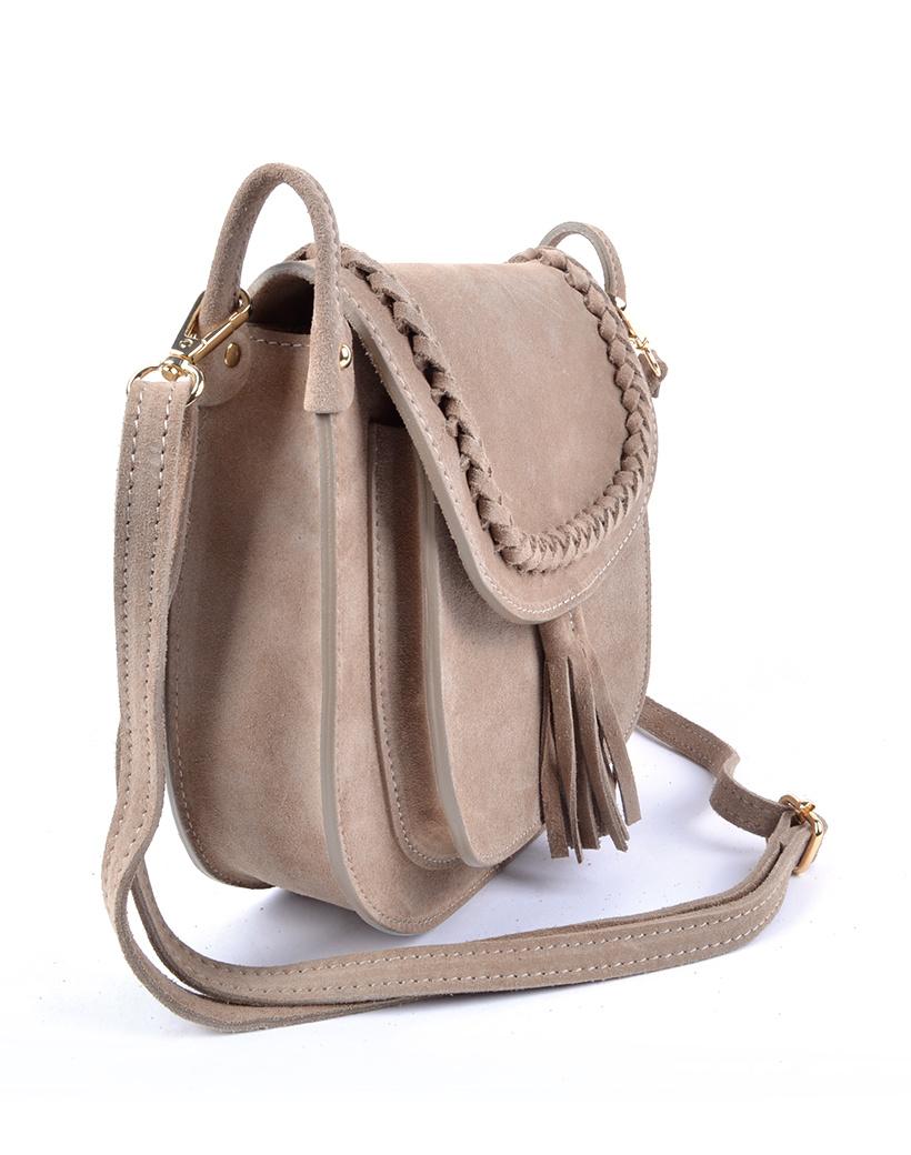 Suede Schoudertas Fancy Tassle beige suede schoudertassen look a like gevlochten details trendy dames tassen kopen bestellen side