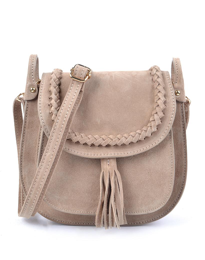 Suede Schoudertas Fancy Tassle beige suede schoudertassen look a like gevlochten details trendy dames tassen kopen bestellen