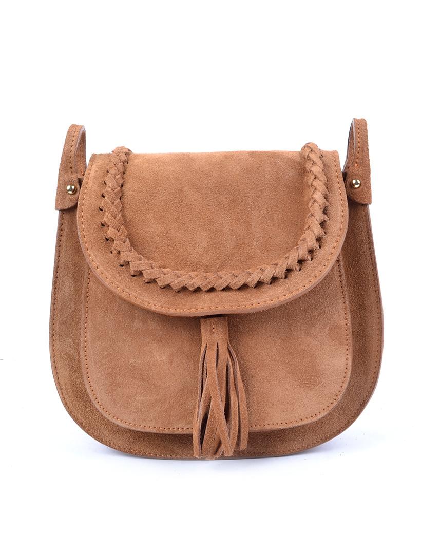 Suede Schoudertas Fancy Tassle camel suede schoudertassen look a like gevlochten details trendy dames tassen kopen bestellen